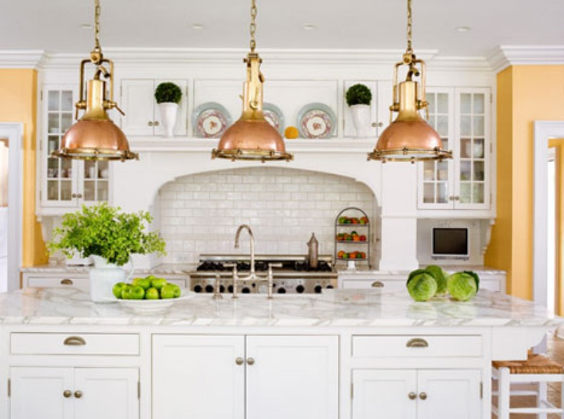 Coastal kitchen with authentic fox lights