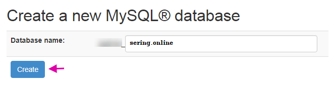 Create New MySQL Database