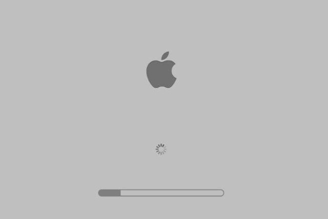 Mac boot process stucks on grey screen with Apple logo