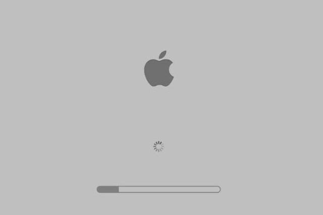 Mac boot process stucks on grey screen with Apple logo