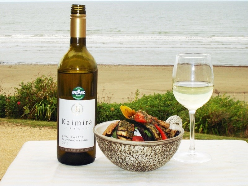 Kaimira Estate Sauvignon Blanc with chargrilled vege stack