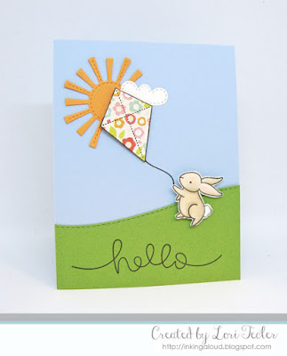 Spring Hello card-designed by Lori Tecler/Inking Aloud-stamps from Lawn Fawn