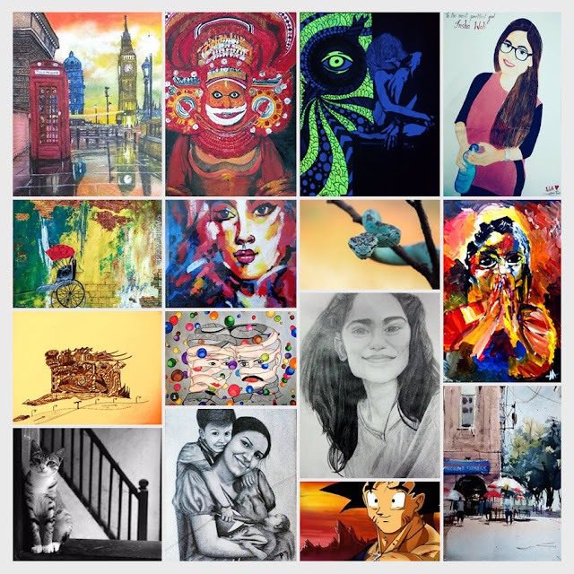 Some of the shortlisted entries of young students (15 to 25 years) from Khula Aasmaan contest for Oct to Dec 2016 (www.indiaart.com)