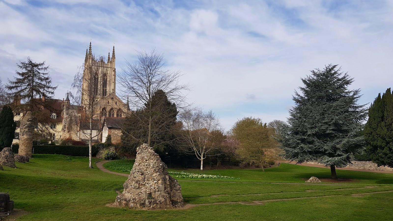 Abbey Garden ruins with St Edmundsbury Cathedral in the background