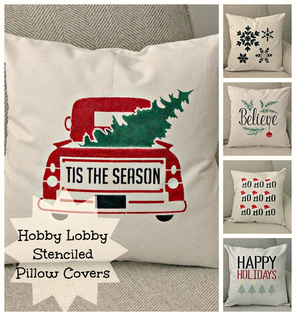 DIY Stenciled Christmas Pillow Covers #HobbyLobby #stencil #pillowcover #Christmas #Christmasdecor