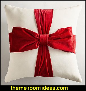 Velvet Bow-Wrapped Gift Pillow    Christmas decorating ideas - Christmas decor - Christmas decorations - Christmas kitchen decor - santa belly pillows - Santa Suit Duvet covers - Christmas bedding - Christmas pillows - Christmas  bedroom decor  - winter decorating ideas - winter wonderland decorating - Christmas Stockings Holiday decor Santa Claus - decorating for Christmas - 3d Christmas cards - xmas tree decor