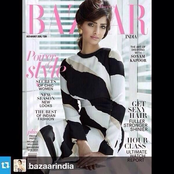 Sonam on cover of Harper's Bazaar India