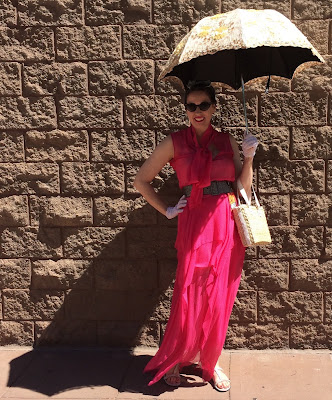 Gail Carriegr Wears a Bright Pink 1930s Maxi Dress at Phoenix Comic Con 2018
