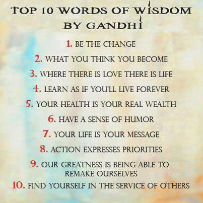 10 words of wisdom by Gandhi