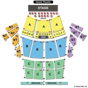 greek theater seating chart - Greek Theatre Seating Chart Row & Seat Numbers TickPick