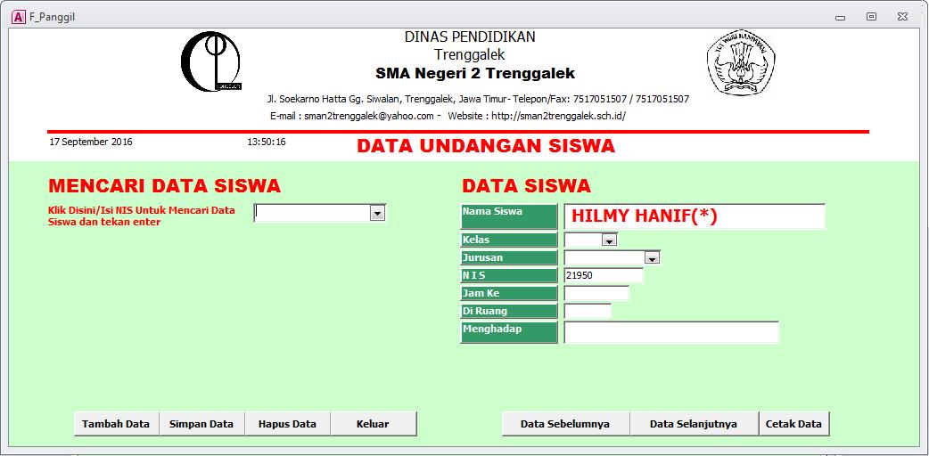 Data Undangan Panggilan Siswa - Aplikasi Bimbingan Konseling Gratis