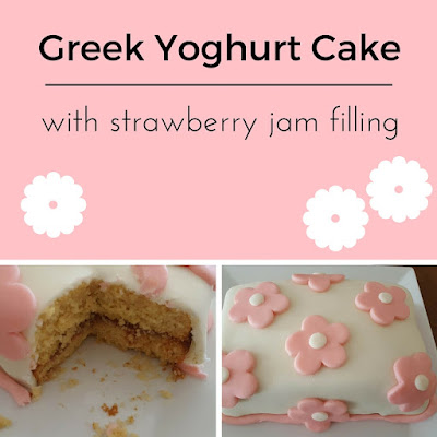 Greek yoghurt cake with strawberry jam filling