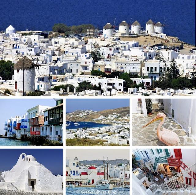 Kolaż zdjęć: Mała Wenecja, Wiatraki, Pelikna, Matogianni, Paraportiani Mykonos Grecja.
