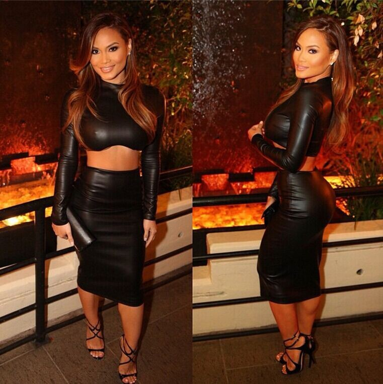 Black Leather Sexy Party Dresses 2 Pieces Sets Clubwear ...