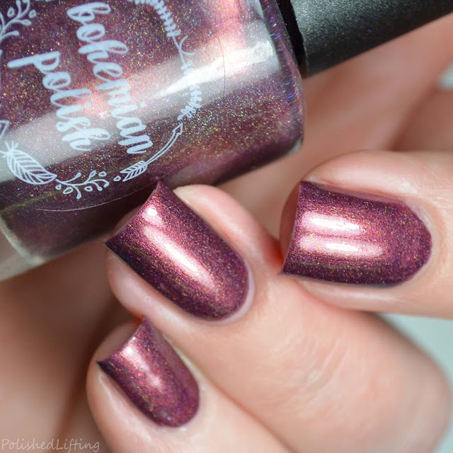 deep red holographic nail polish
