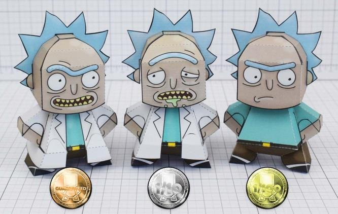 papermau rick and morty rick sanchez random paper toy by fold