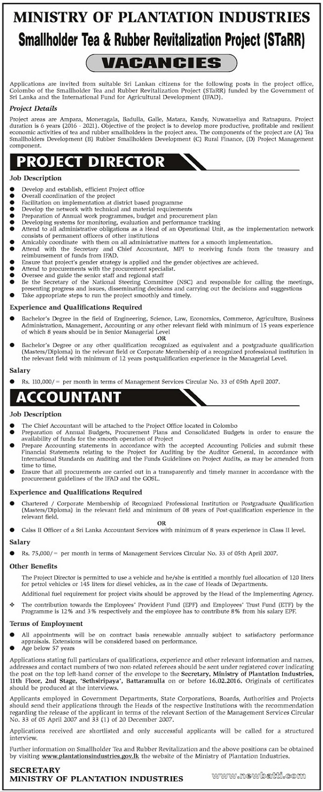 Vacancy for Project Director, Accountant - Ministry of