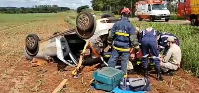 Veiculo de Nova Cantu se envolve em acidente próximo à Campo Mourão
