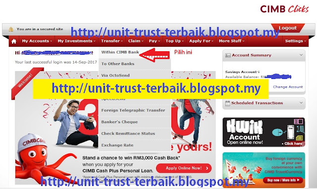 Cara Top Up Unit Trust CWA Guna Cimbclicks