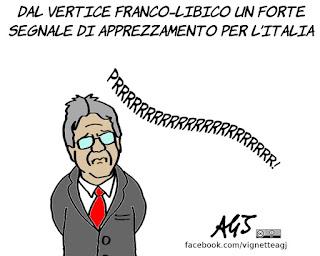Macron, libia, gentiloni, vertice, politica internazionale, vignetta, satira