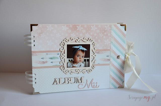 album dla dziecka, album na chrzest, pastelowy album, album scrapbookingowy, album ze zdjęciem