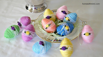 Yarn Wrapped Embellished Easter Eggs