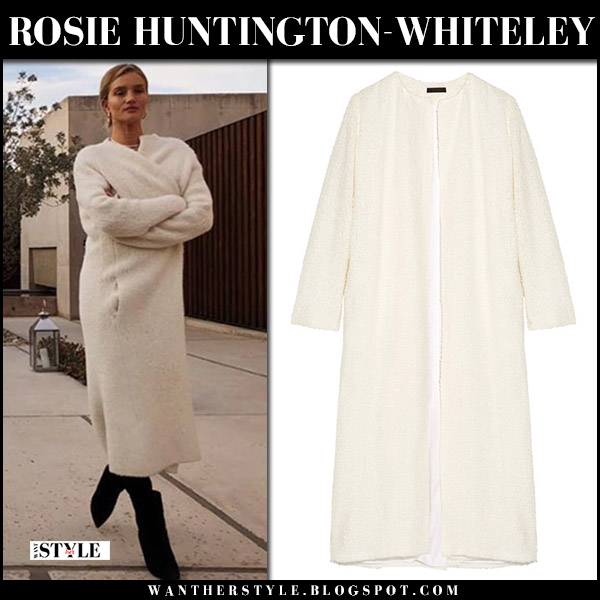 Rosie Huntington-Whiteley in cream boucle coat the row pamie street fashion winter december 19