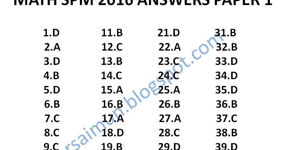 Spm Math 2016 Paper 1 Answers Mr Sai Mun