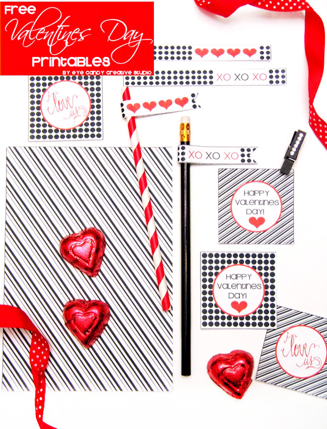 free valentines day printbales, black & white valentines, hand lettered