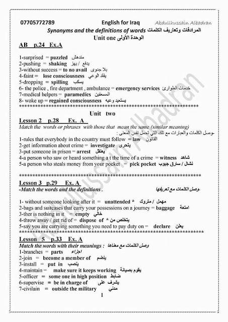 مرشحات انكليزى للسادس الاعدادي 2017 اعداد الاستاذ عبد الحسين البدران