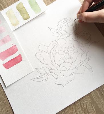 Proces powstawania przepięknych zaproszeń wykonanych akwarelami przez emi maluje.