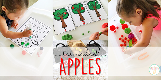 Tons of apple themed activities and ideas. Weekly plan includes books, fine motor, gross motor, sensory bins, snacks and more! Perfect for fall in tot school, preschool, or kindergarten.