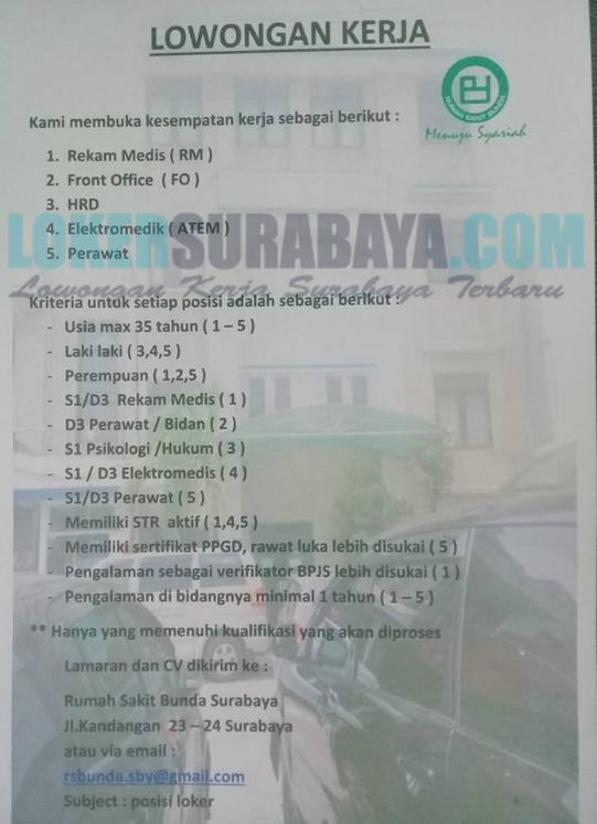Lowongan Kerja Di Rumah Sakit Bunda Surabaya Terbaru April 2019 Lowongan Kerja Surabaya Januari 2021 Lowongan Kerja Jawa Timur Terbaru