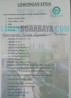 Lowongan Kerja di Rumah Sakit Bunda Surabaya Terbaru April 2019