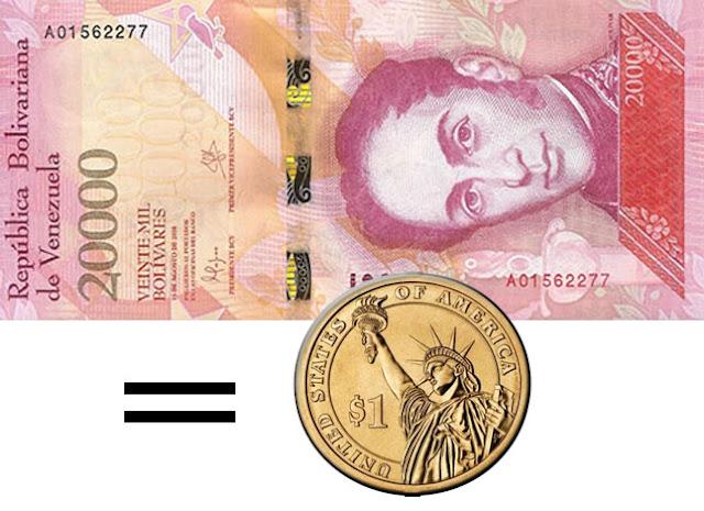 El billete más alto de Venezuela vale menos de un dólar