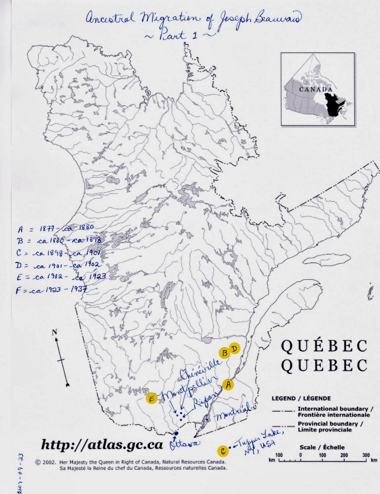 Map of Quebec and part of New York State