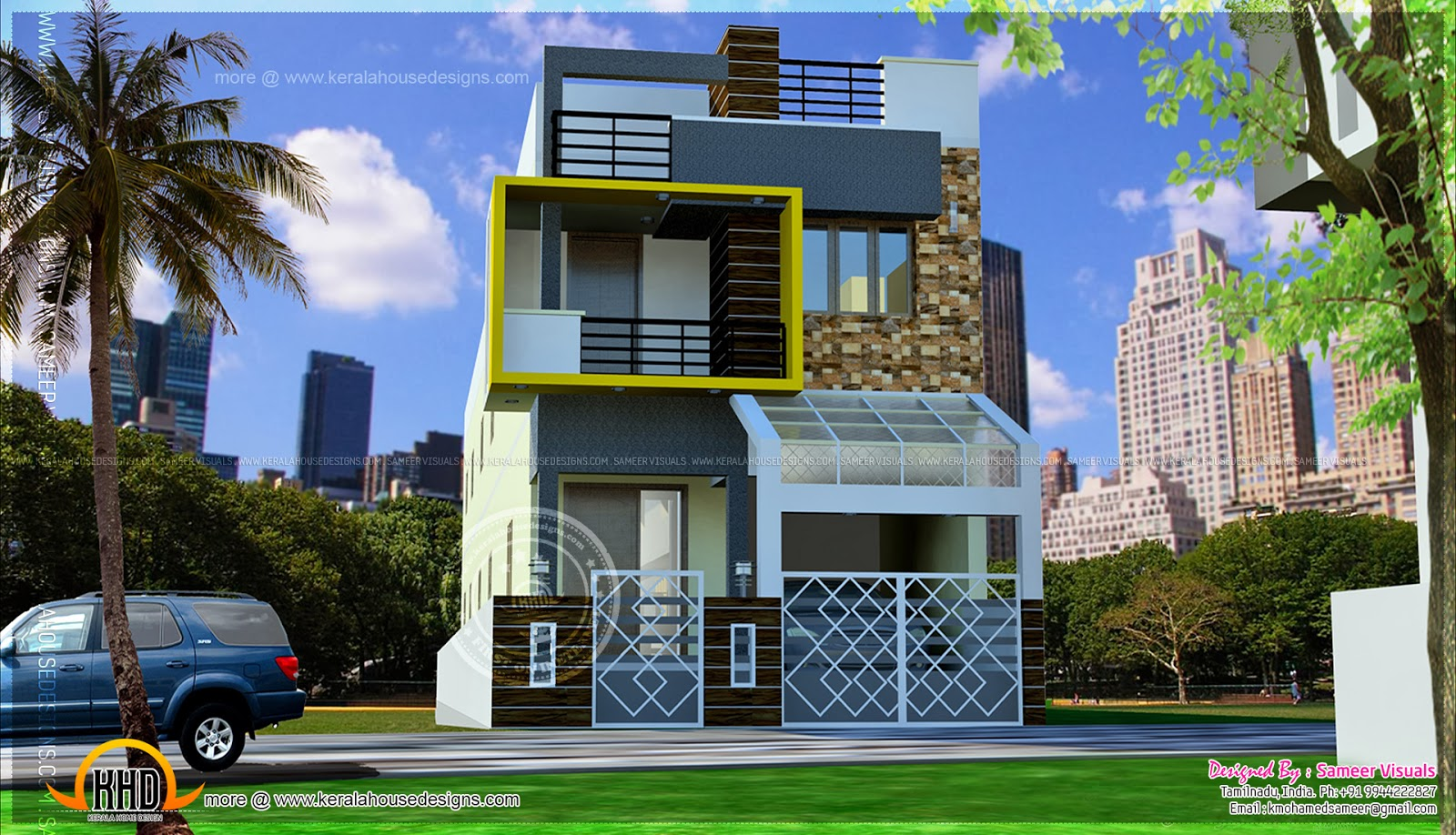 Modern luxury south indian style house home kerala plans for Home front design in indian style
