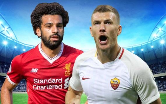 Mohamed Salah of Liverpool and Edin Dzeko AS Roma