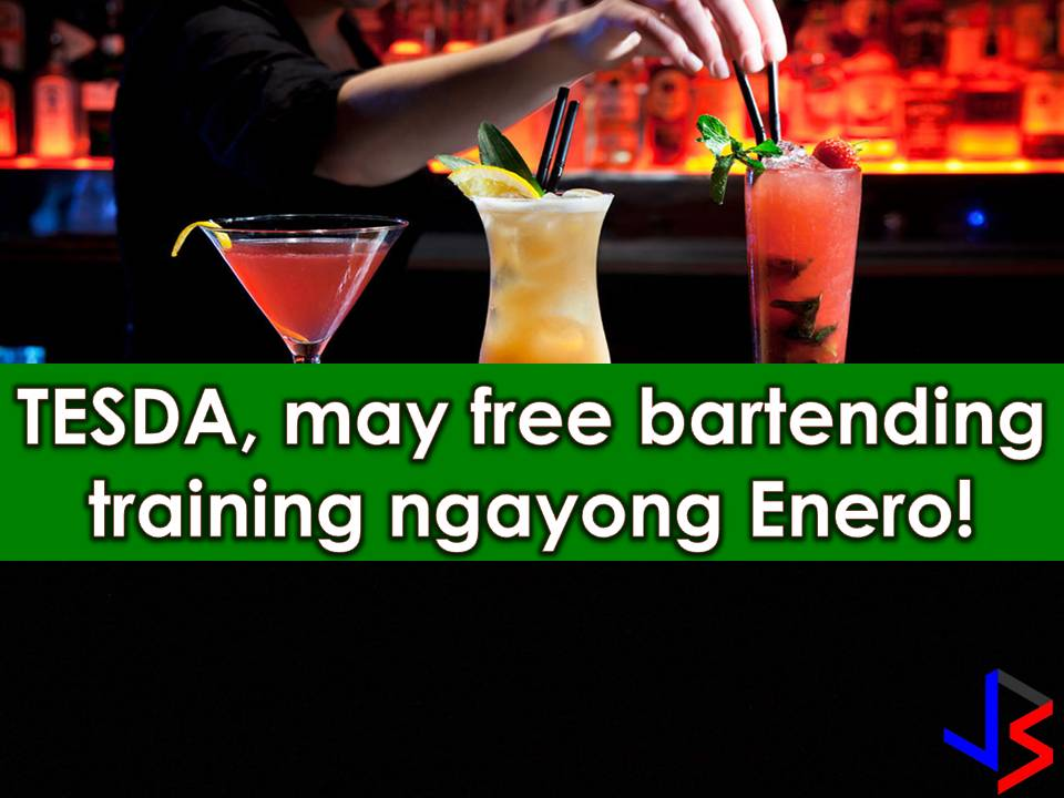 The Technical Education and Skills Development Authority (TESDA) is set to accept an application for those who are willing to take bartending training.    If you are looking for a new opportunity to work local or abroad this new year why don't you grab this free training?    Bartending is a short course that will train applicants on how to prepare, mix and service drinks. TESDA will open this training on January 28. Last December 70 bartenders graduated on the said course from TESDA. Bartending is one of many in-demand works in hotel, restaurants, and bar, both local and abroad.