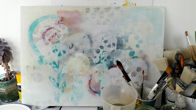 Whoopidooings: What's On Your Workdesk Wednesday 468 - Work in Progress, Mixed Media Abstract