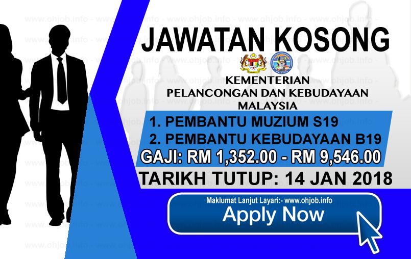 Jawatan Kerja Kosong Kementerian Pelancongan dan Kebudayaan Malaysia logo www.ohjob.info januari 2018