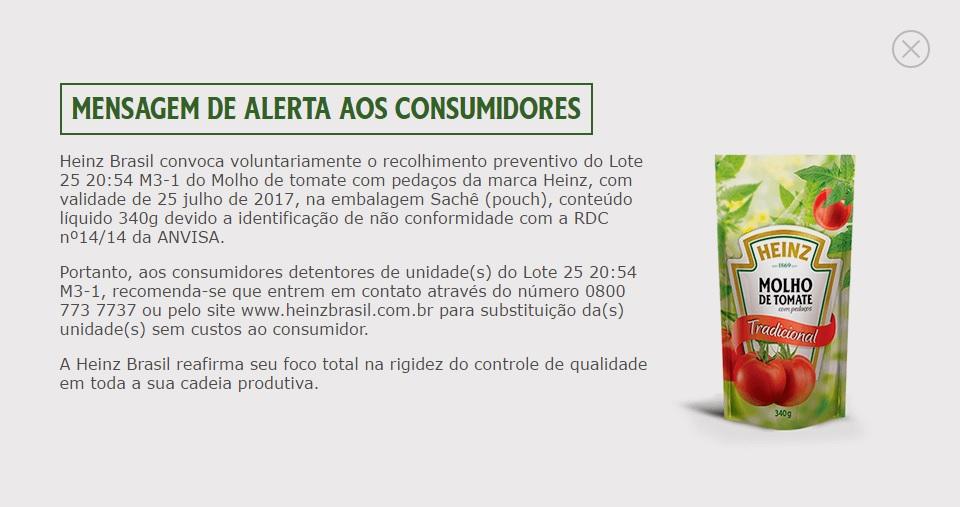 Mensagem de alerta exibida aos consumidores no site da Heinz. Foto: Reprodução