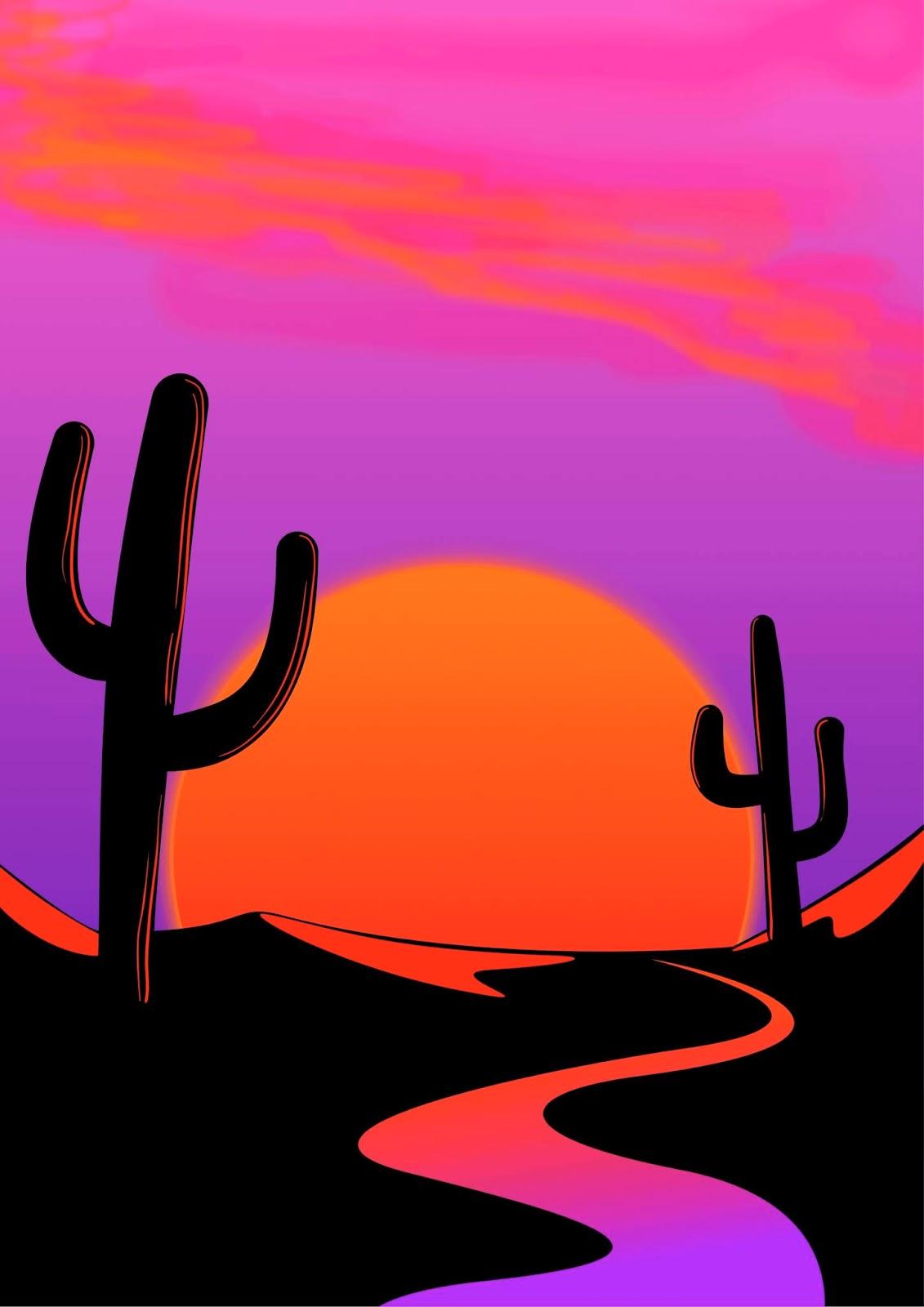 desert cactus purple river sun