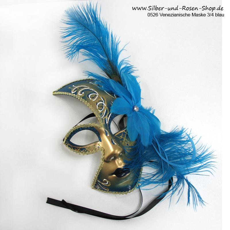 Venezianische Maske in Türkisblau mit Federbesatz