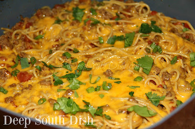 A one pot spaghetti dish made with ground beef, tomatoes with green chilies, taco seasoning and shredded cheese.