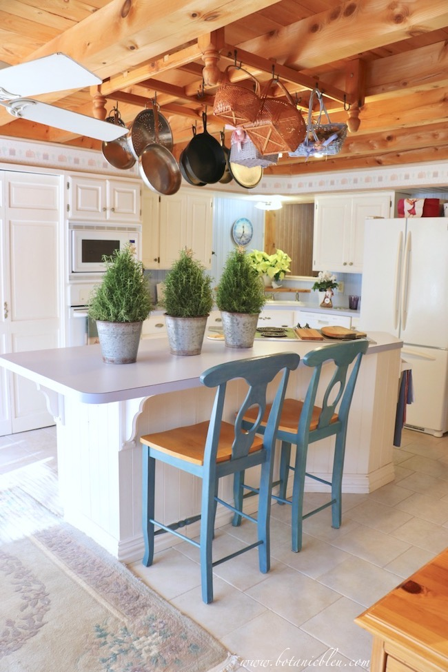 White Painted French Country Kitchen with Beams