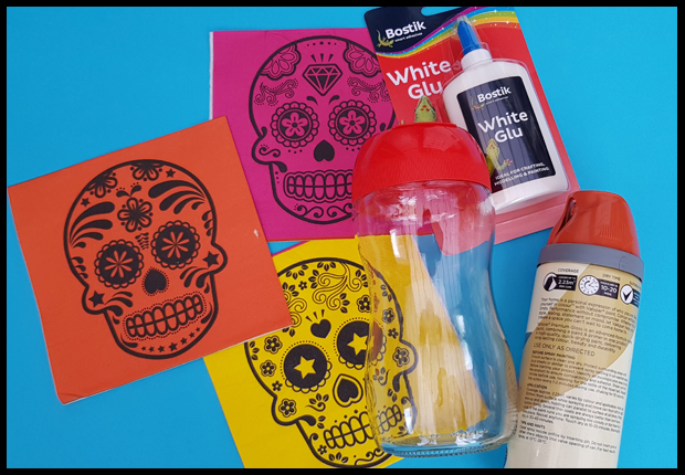 Materials needed to make Day of the Dead lanterns - ideal kids craft - warning - messy play ahead