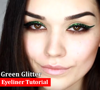 Best Green Glitter Eyeliner Makeup Tutorial 2016-2017