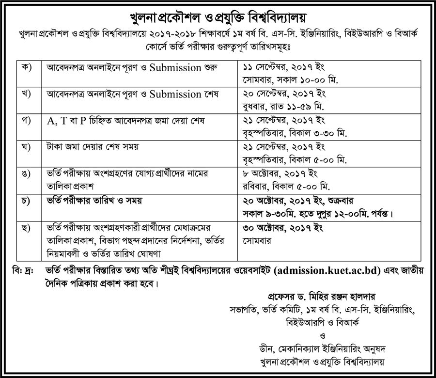KUET Admission Test Notice 2017