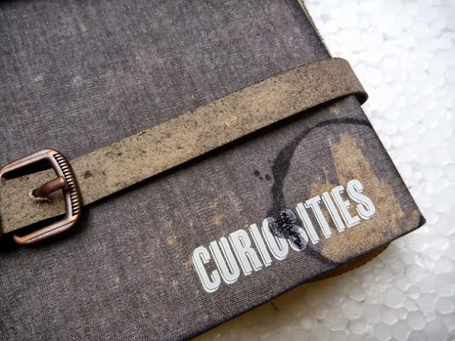 Black Woven Album Cover with Grunge Board Belt, Curiosities Rub-on, and Black Stamping
